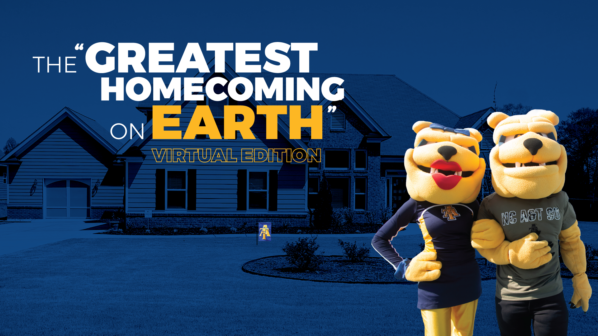Image of A&T mascots in front of a home.